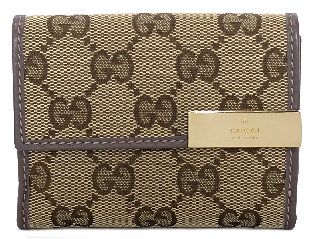 8446be341552 261502 three Gucci fold wallet GG pattern GG canvas beige compact lady's GG  beauty article GUCCI ...