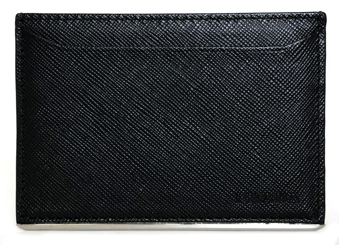 プラダ カードケース パスケース 定期入れ レザー ブラック 黒 メンズ サフィアーノ 型押し 名刺入れ マチなし 美品 PRADA 薄型 【中古】