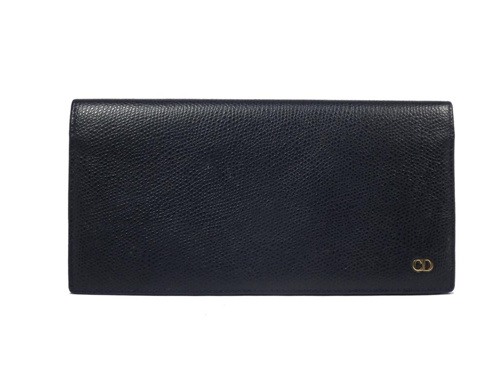 良好 クリスチャンディオール 長財布 濃紺 ネイビー 財布 型押し CD ディオール メンズ レディース コインケースあり Christian Dior 【中古】