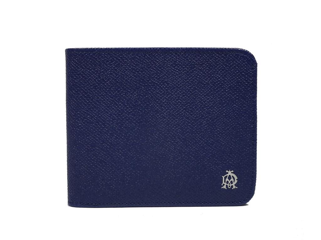 未使用 ダンヒル 財布 二つ折り 札入 ボードン 型押し レザー ブルー L2M130Z メンズ 紳士用 dunhill Bourdon 青系 【中古】