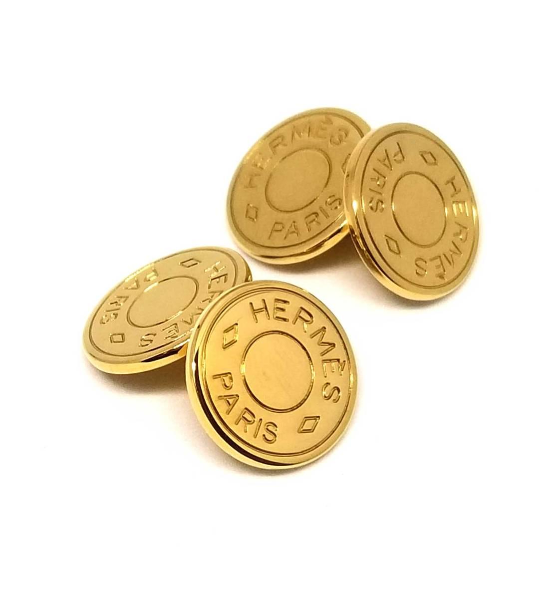 新品同様 エルメス カフリンクス セリエ ゴールド カフス カフスボタン メンズ HERMES 【中古】