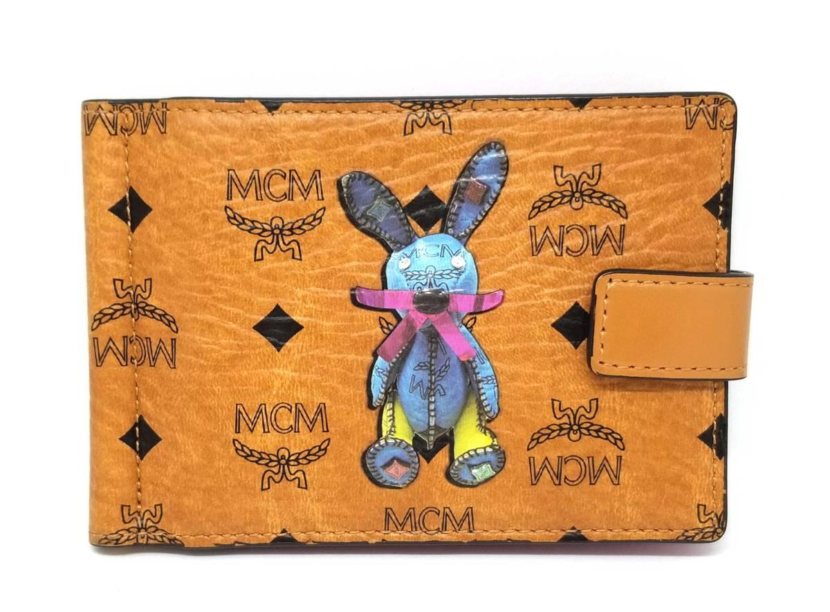 新品同様 MCM マネークリップ 二つ折り 札入 財布 ラビット ウサギ エムシーエム メンズ 紳士用 ウサギ 二つ折り 【中古】