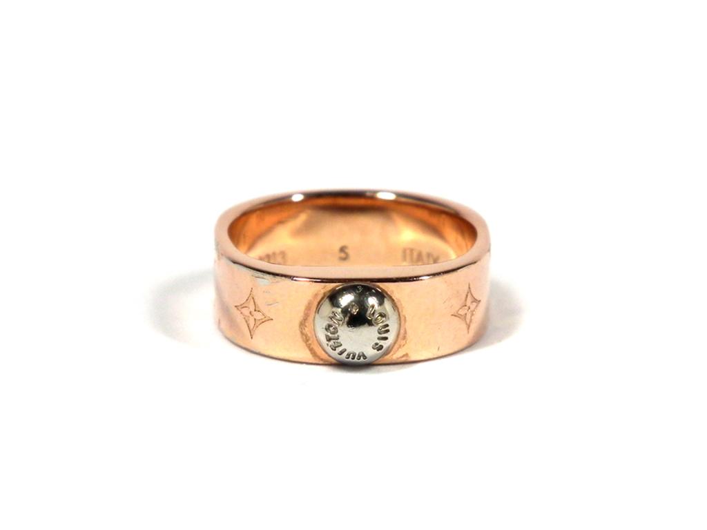 ルイヴィトン バーグ ナノグラム リング モノグラム 指輪 ピンクゴールド M00213 LV Sサイズ レディース 【中古】