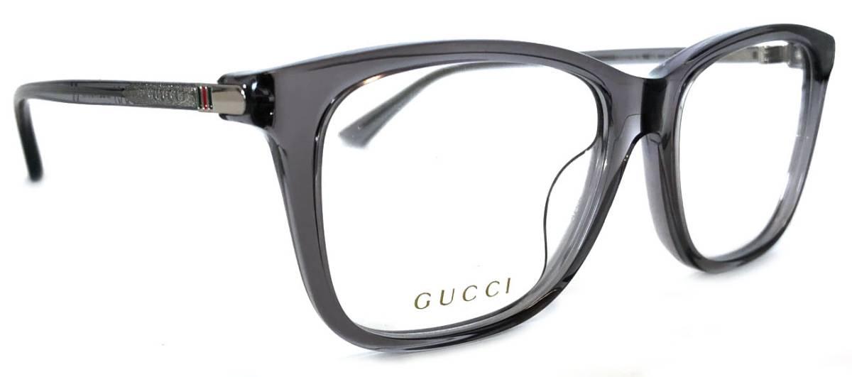 未使用 グッチ メガネ めがね ロゴ フレーム 眼鏡フレーム クリア メガネフレーム グレー メンズ GUCCI めがねフレーム 眼鏡 GG0018 セルフレーム スケルトン 【中古】