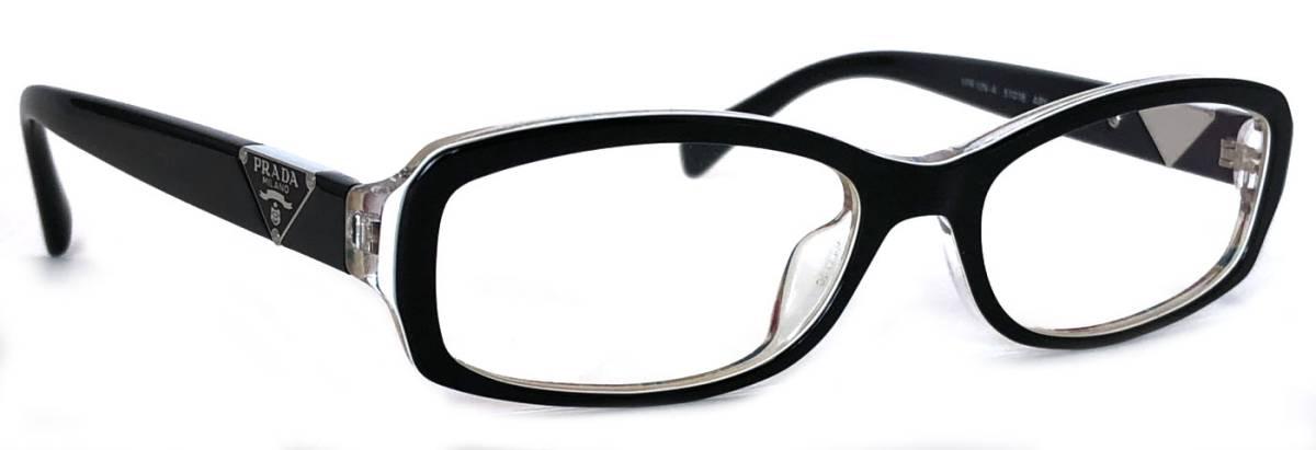 未使用 プラダ 眼鏡 メガネフレーム VPR10N ロゴ ブラック メンズ レディース 黒 フレーム 眼鏡フレーム めがねフレーム だてメガネ 伊達メガネ PRADA 【中古】