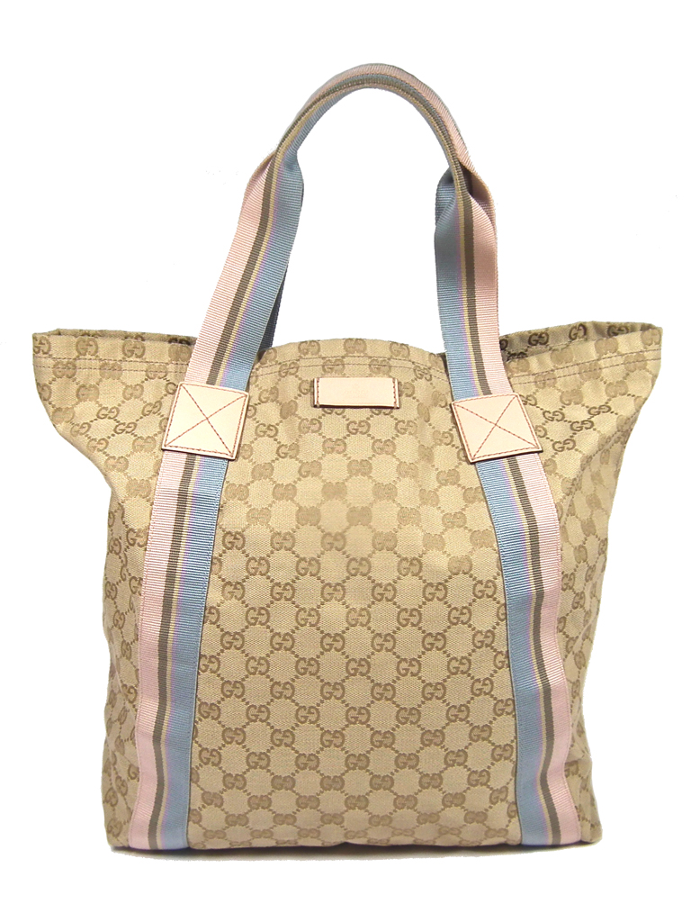 6fba935eb50f Gucci tote bag GG canvas handbag 189669 Eco bag beige pink light blue  handbag shopping bag ...