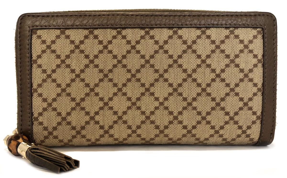 45e1988e2 Takeru Gucci wallet zip around long wallet round fastener Diamante canvas  tassel bamboo beige 224253 men's ...