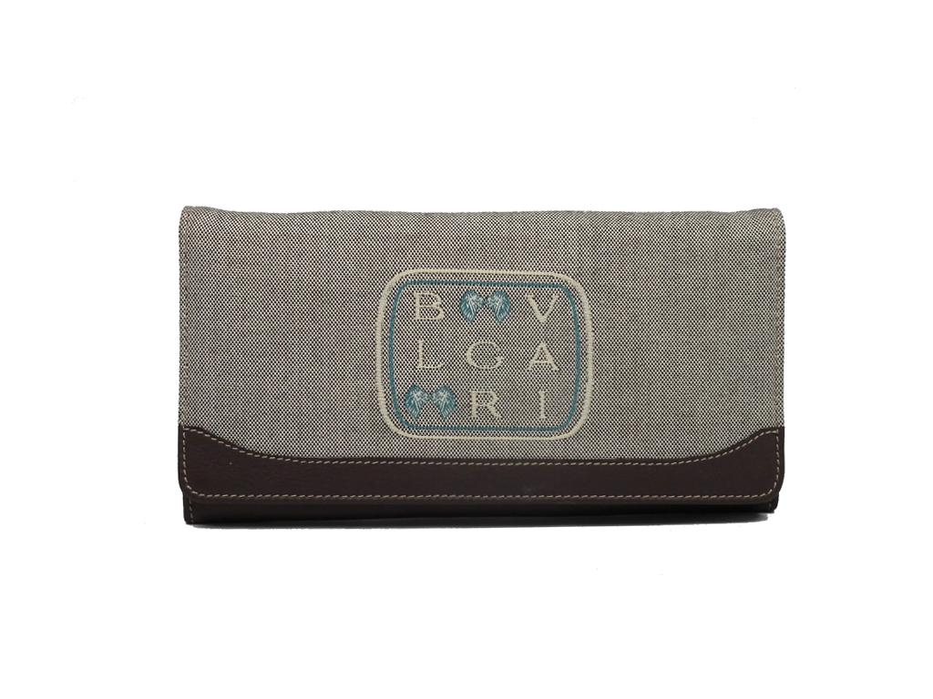 ブルガリ 長財布 レディース 財布 刺繍 ロゴ レオーニ レザー リボン ブラウン BVLGARI 【中古】