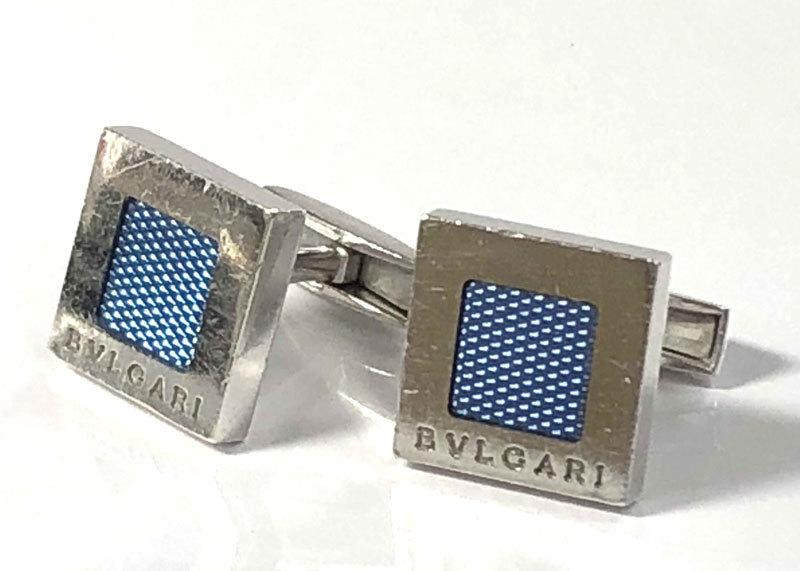 ブルガリ カフス カフリンクス SV925 スクエア ブルー シルバー製 カフスボタン 銀製品 青 BVLGARI 【中古】