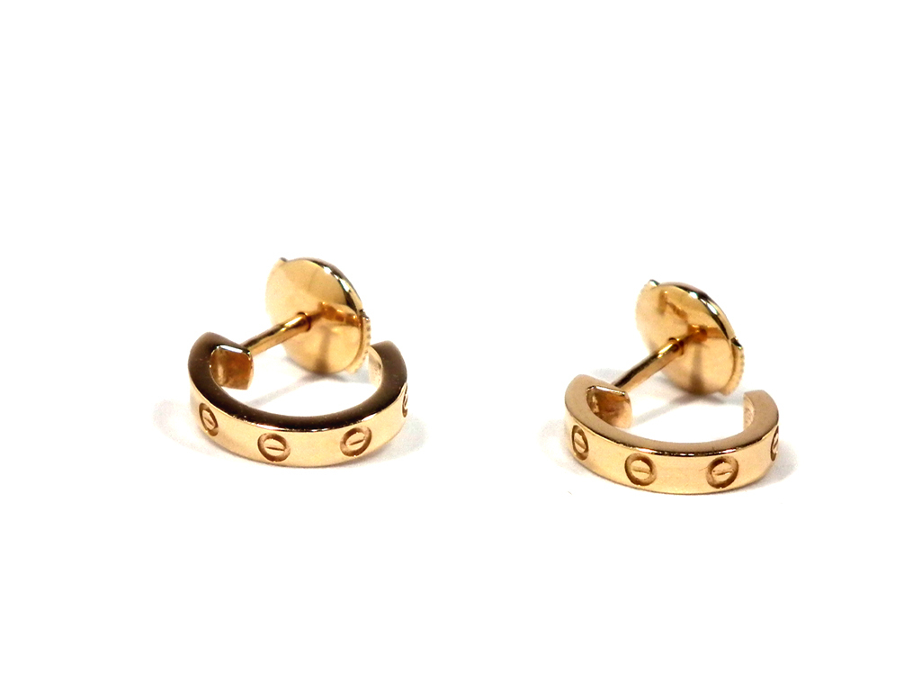 Motif Cartier Love Pierced Earrings K18 With The Like New Mini Pink Gold B8029000 750pg Country Guarantee