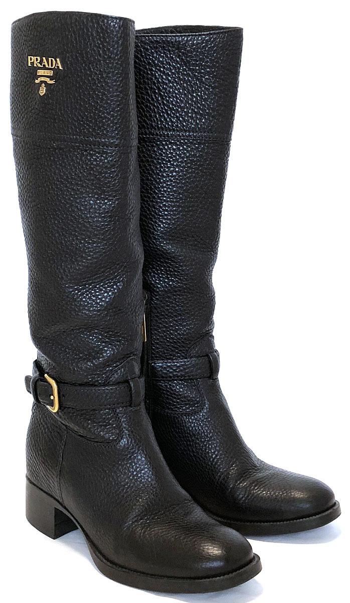 プラダ ブーツ レザー ブラック 黒 ロゴ ロングブーツ 約24.5cm ゴールド PRADA 良好 レディース 靴 レザーブーツ 【中古】