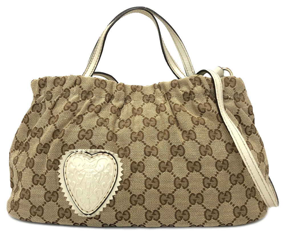 23558023d07c Take Gucci 2WAY handbag shoulder bag slant; pochette GG canvas beige white  GG pattern heart crest Lady's 212994 beautiful article GUCCI