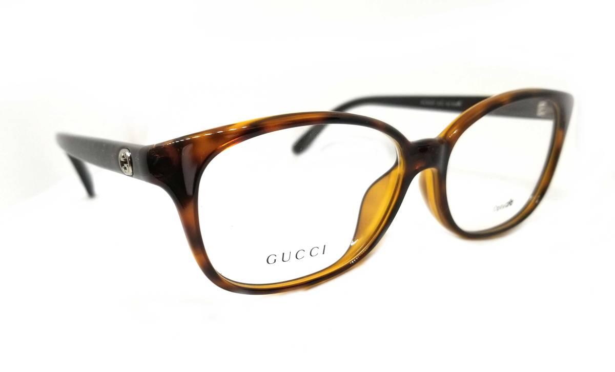 未使用 グッチ メガネ ラメ ディアマンテ インターロッキングG メガネフレーム GG3634 フレーム 眼鏡 べっ甲柄 ブラウン レディース GUCCI めがねフレーム 眼鏡フレーム 【中古】