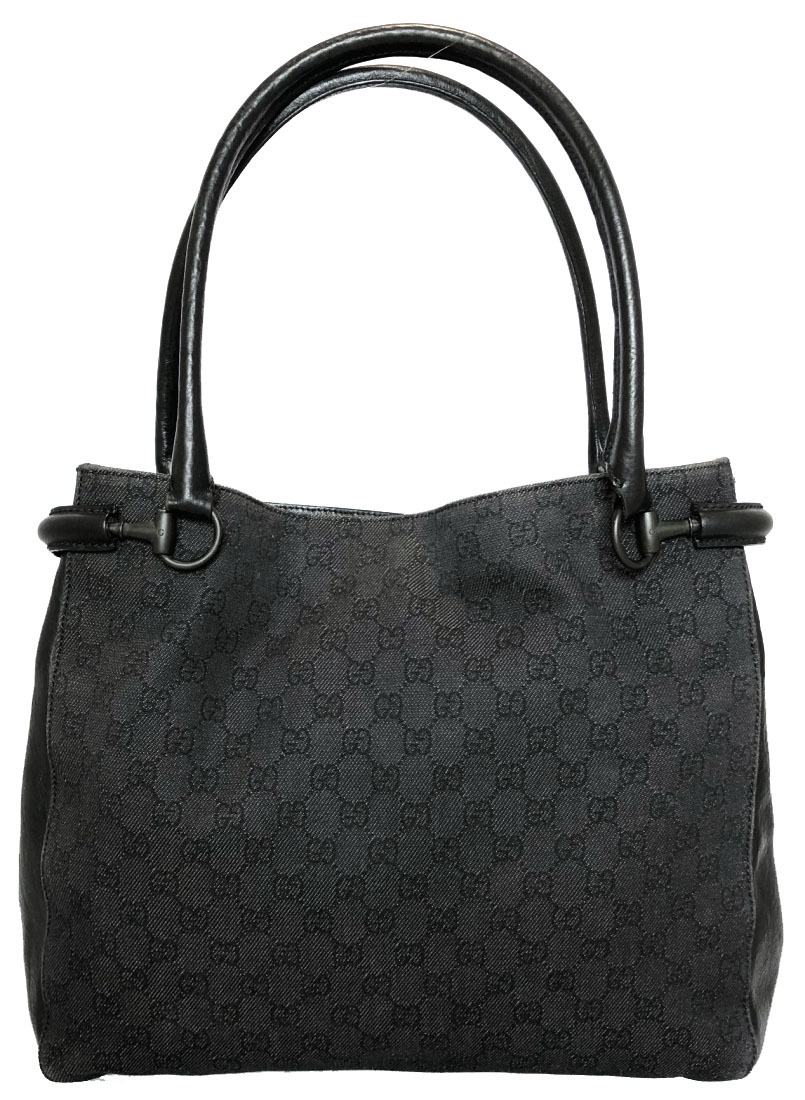 516089a6748 Gucci tote bag GG canvas GG pattern A4 storing black black GG denim  shoulder bag Lady s GG GUCCI 101346 handbag