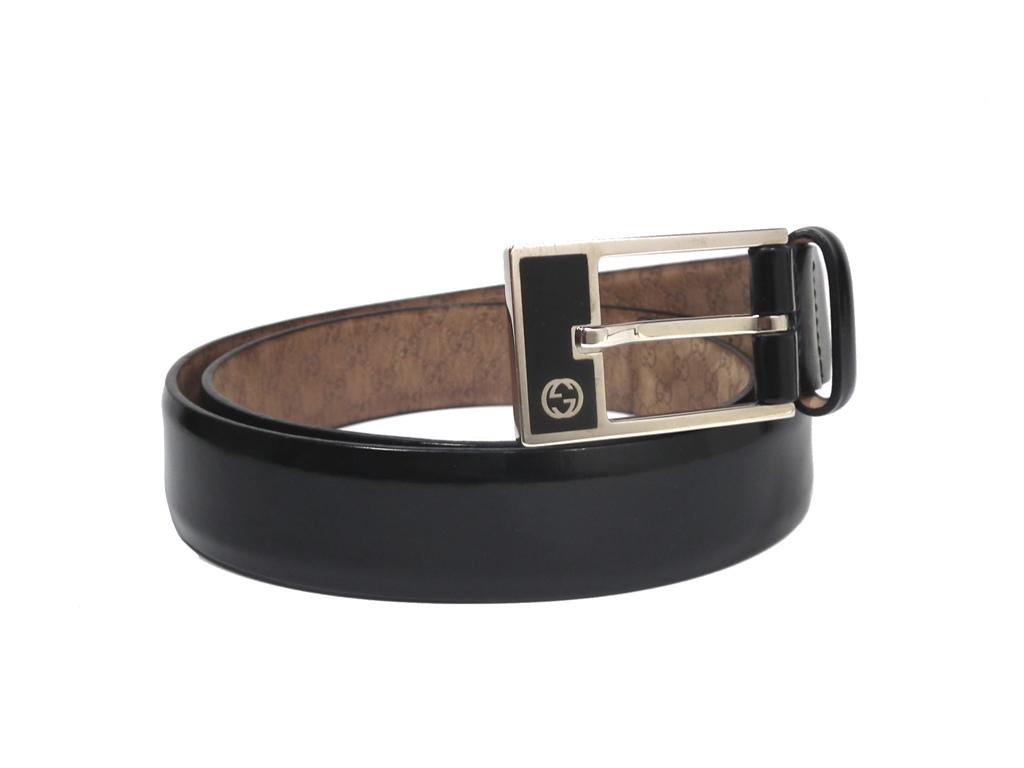 1bcd4fc6818 Gucci belt black black 90cm leather interlocking grip G GG genuine leather  189804 men s GUCCI
