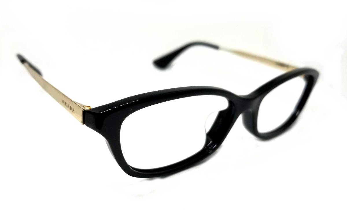 プラダ 眼鏡 メガネフレーム 黒縁 ゴールド VPR01R 伊達眼鏡 メンズ レディース 男女兼用 PRADA  【中古】