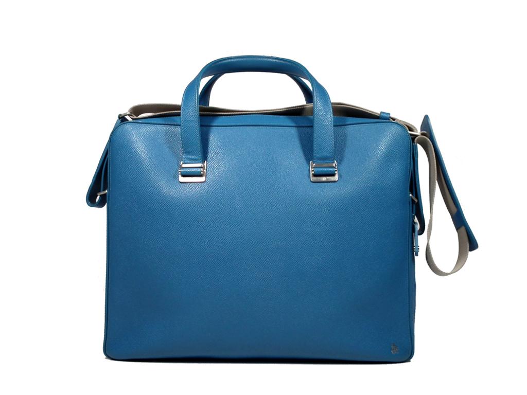 ダンヒル ドキュメントケース ブリーフケース ボードン レザー ブルー カドガン ビジネスバッグ 青 dunhill メンズ 書類かばん 書類鞄 紳士用 水色 【中古】