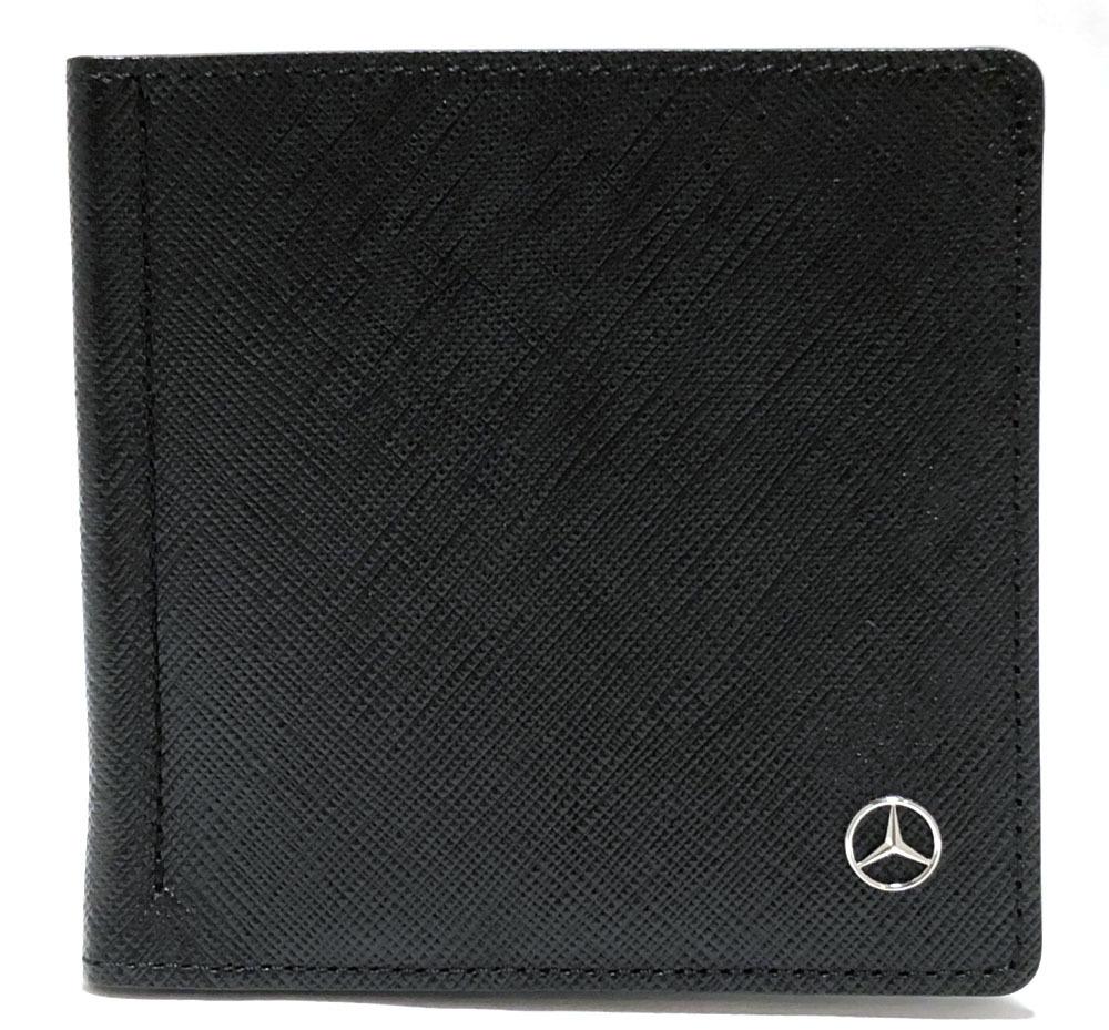 未使用 メルセデスベンツ マネークリップ カードケース 財布 レザー 型押し ブラック 黒 メンズ ベンツ 二つ折り財布 二つ折り札入れ 札入れ 札入 【中古】