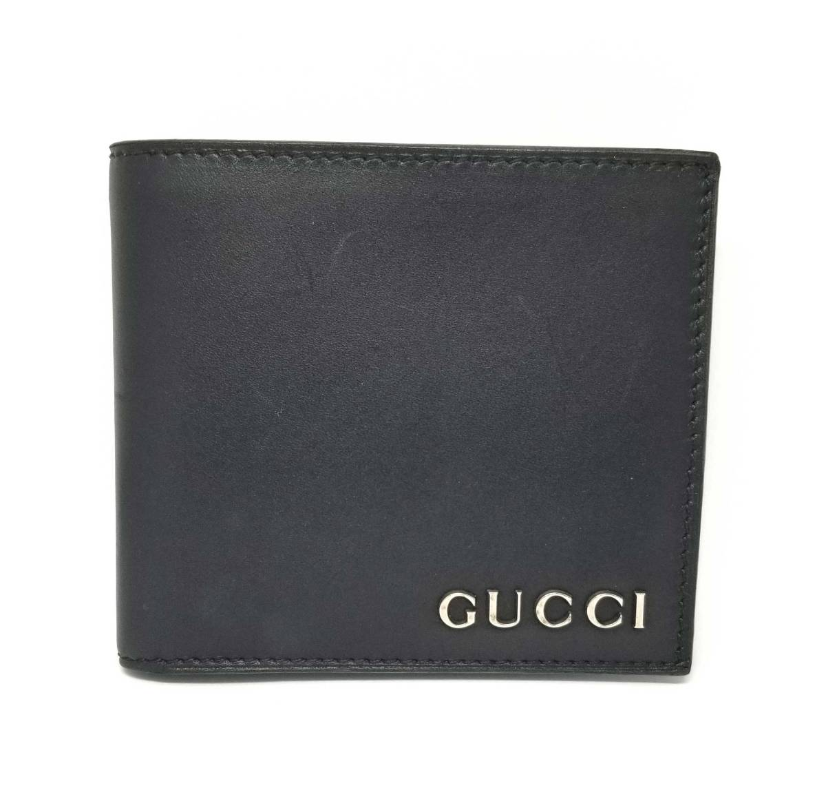 8e2a21f4418c The genuine leather GUCCI compact which there is a Gucci folio wallet men  black black leather ...