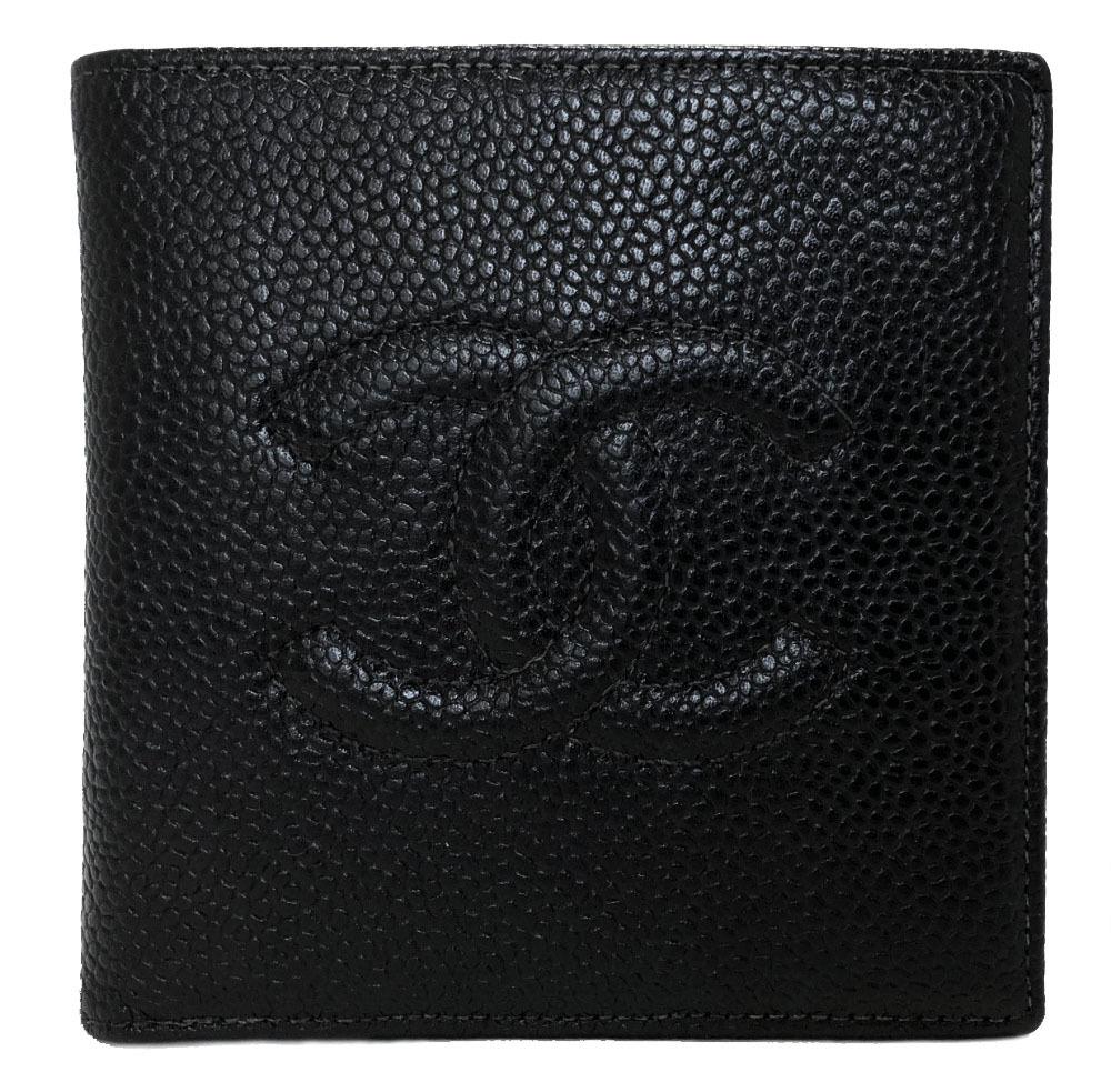 シャネル 財布 キャビアスキン 二つ折り ココマーク 型押し レザー ブラック コンパクト 黒 メンズ 紳士向け CHANEL 2つ折り 【中古】