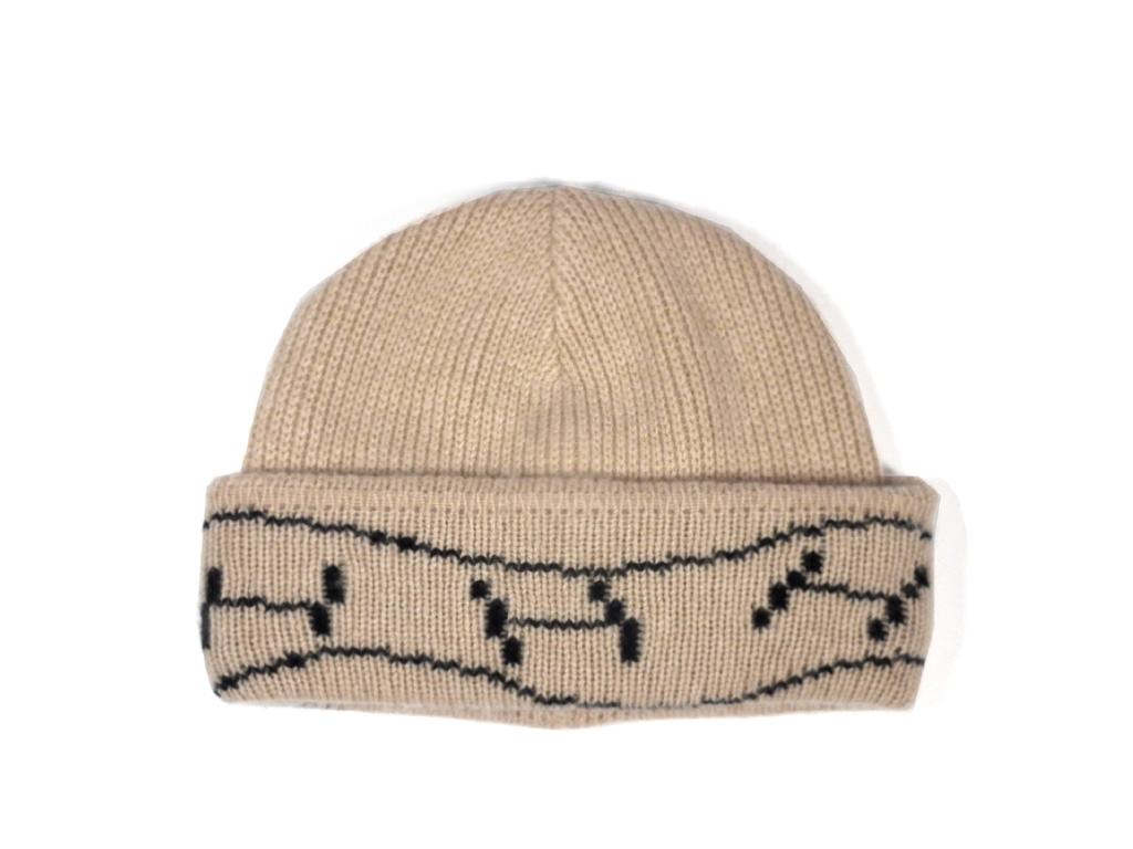 新品同様 エルメス ニットキャップ 帽子 ニット帽 Hロゴ カシミヤ ベージュ レディース 男女兼用 HERMES #SM 【中古】