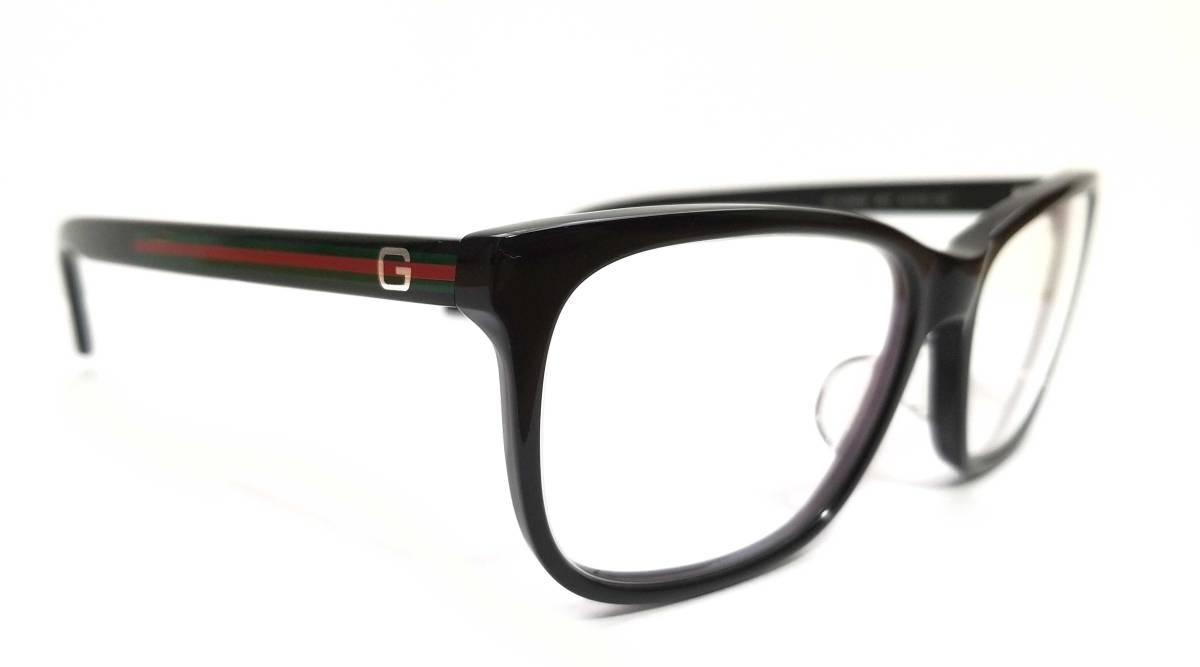 美品 グッチ メガネ めがね フレーム 眼鏡 GG メガネフレーム GG9066 ブラック 黒 メンズ レディース 細身 GUCCI 伊達メガネ シェリー めがねフレーム 眼鏡フレーム  【中古】