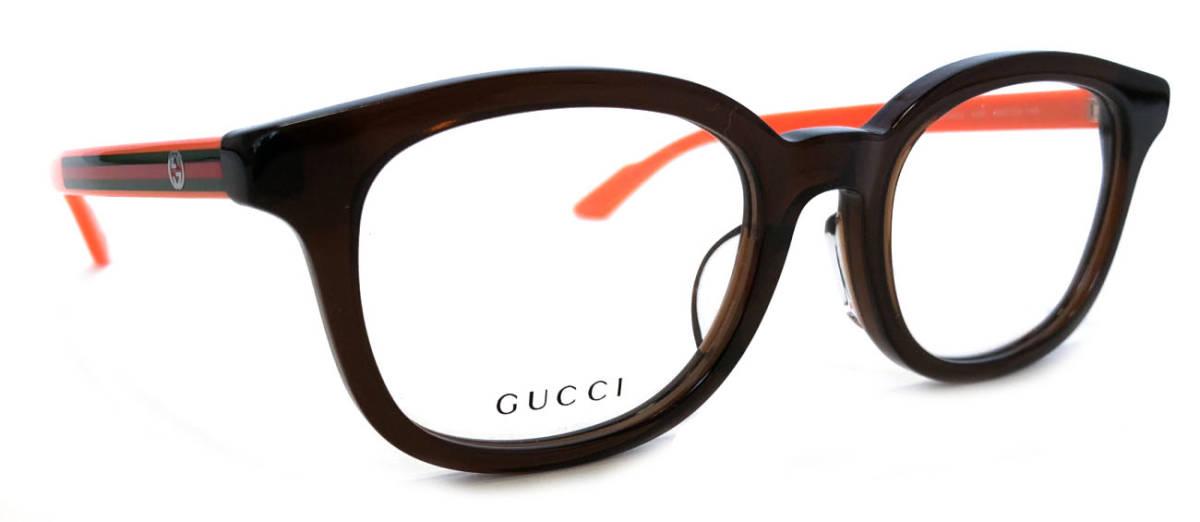 未使用 グッチ メガネ めがね フレーム 眼鏡 GG メガネフレーム ブラウン 茶色 オレンジ メンズ レディース 細身 GUCCI 伊達メガネ シェリー めがねフレーム 眼鏡フレーム GG9104 【中古】