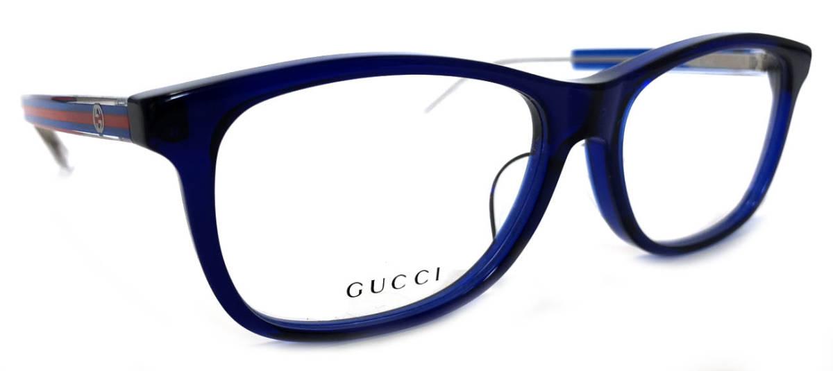 未使用 グッチ メガネ 眼鏡 フレーム めがね ブルー 青 クリア メガネフレーム 伊達メガネ GG GG3736 GUCCI 眼鏡フレーム メンズ レディース 男女兼用 【中古】