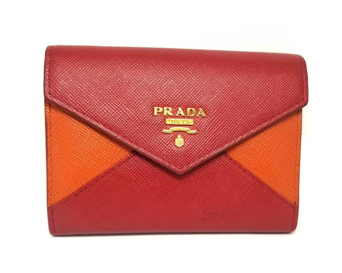 ce6f956563a1 プラダ カードケース 名刺入れ サフィアーノ 1M1442 バイカラー 赤 オレンジ 型押し レザー PRADA レディース