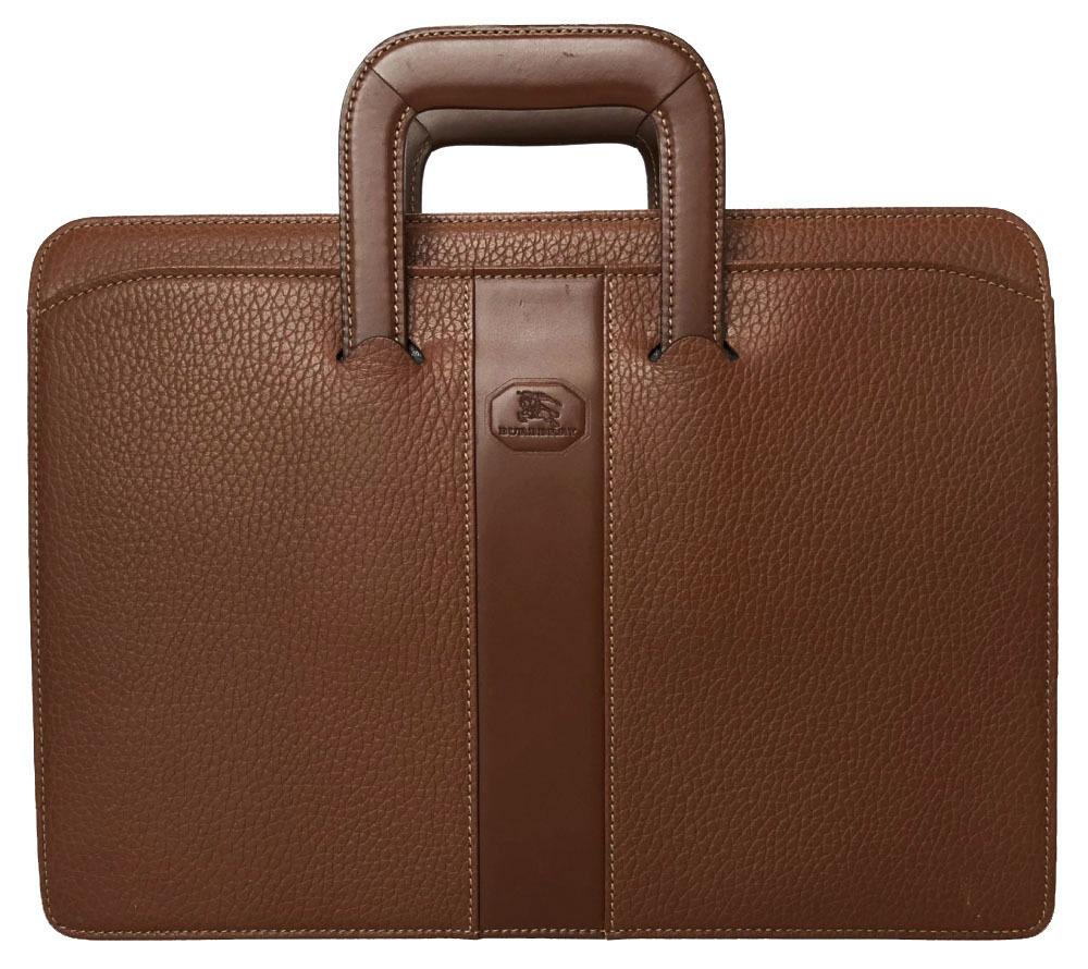 バーバリー ブリーフケース A4サイズ レザー ビジネスバッグ ブラウン 茶色 型押し 本革 書類かばん BURBERRY メンズ 【中古】