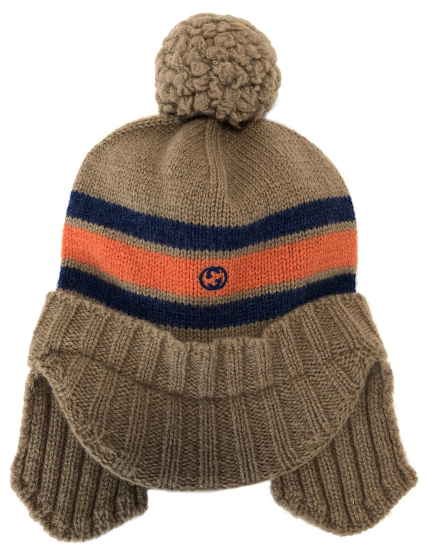 412859ca Knit hat knit wool GUCCI ear expectation bonbon brown knit hat brown double  G for the ...