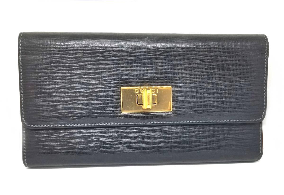 グッチ 長財布 レザー 財布 ブラック 黒 ゴールド ロゴ 型押し メンズ レディース 三つ折り GUCCI 【中古】