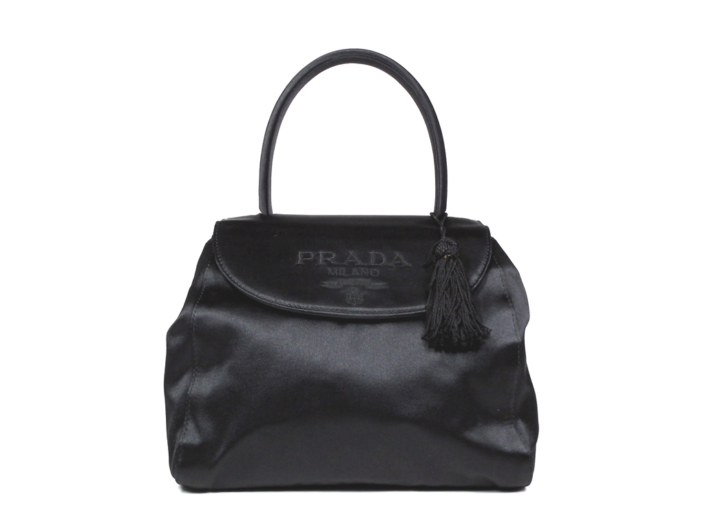 18c858f738fb Like-new Prada handbag party bag tassel satin black black four circle party  bag lady ...
