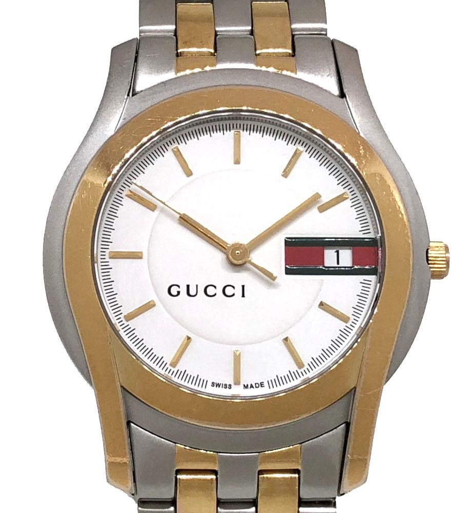 グッチ 時計 5500M コンビ SS×GP YA055313 白文字盤 シルバー×ゴールド GUCCI 紳士用 メンズ シェリーカラー QZ 電池式 腕時計 メンズウォッチ 【中古】