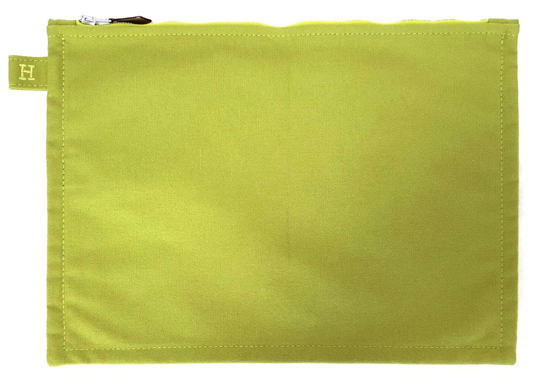 未使用 エルメス ボラボラポーチ 28 中 ライトグリーン 緑 セカンドバッグ M 化粧ポーチ HERMES 男女兼用 メンズ レディース 小物入れ キャンバス 黄緑 ボラボラ 【中古】
