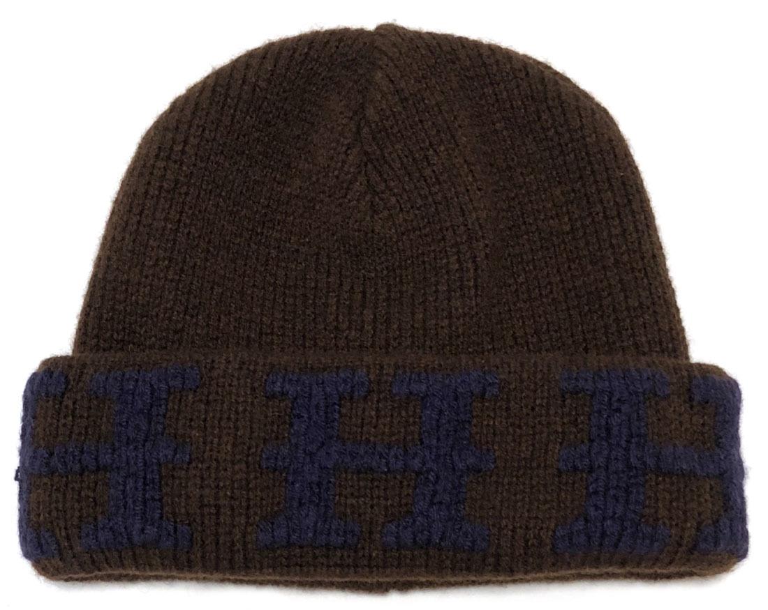 6fad13bb Brandeal Rakuten Ichiba Shop: H mark 100% browner like-new Hermes knit hat  hat H logo cashmere knit cap brown blue knit ME Lady's men HERMES cashmere  ...