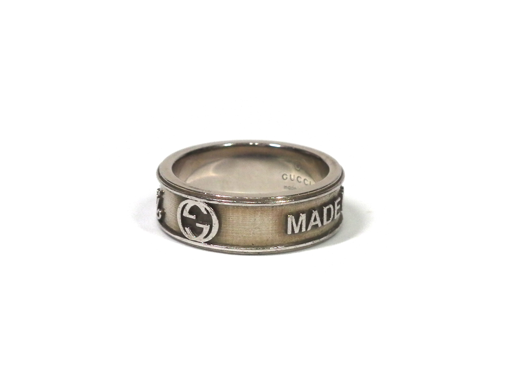 Gucci vintage trademark ring flowing script logo ring 18 ring  19 silver  ring 925 men\u0027s GUCCI men silver product