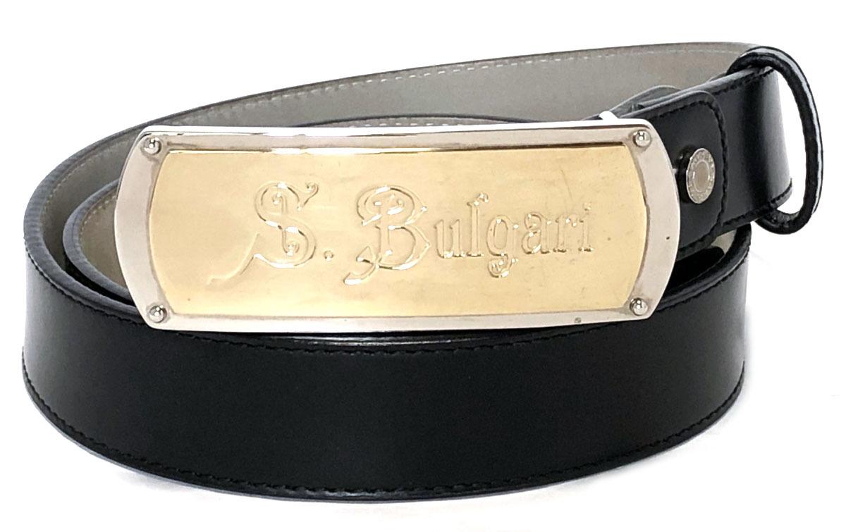 ブルガリ ベルト ゴールド×シルバー 最大約 93cm バックル ソティリオ ブルガリ 32490 レザー ブラック 黒 BVLGARI 【中古】