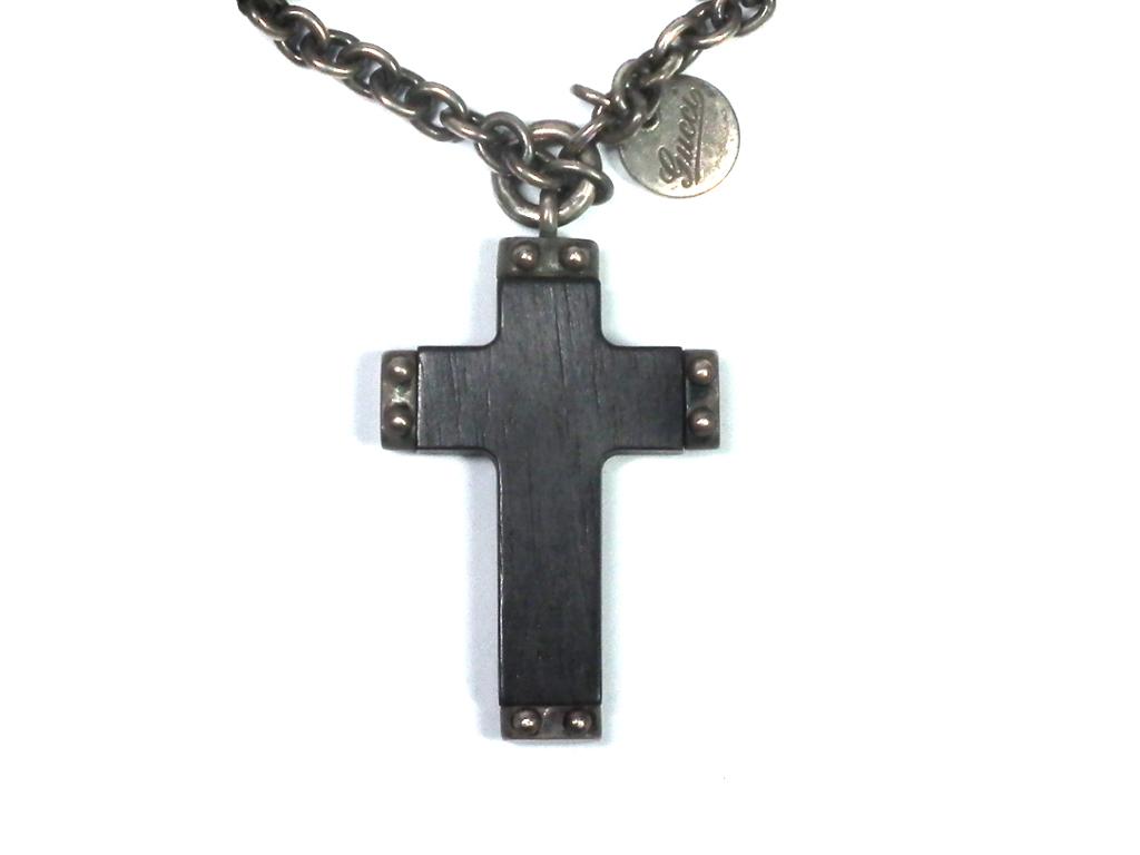 グッチ エボニー クロス ペンダント ネックレス 十字架 木製 メンズ シルバー GUCCI 181417 ウッド エボニークロス アクセサリー 【中古】