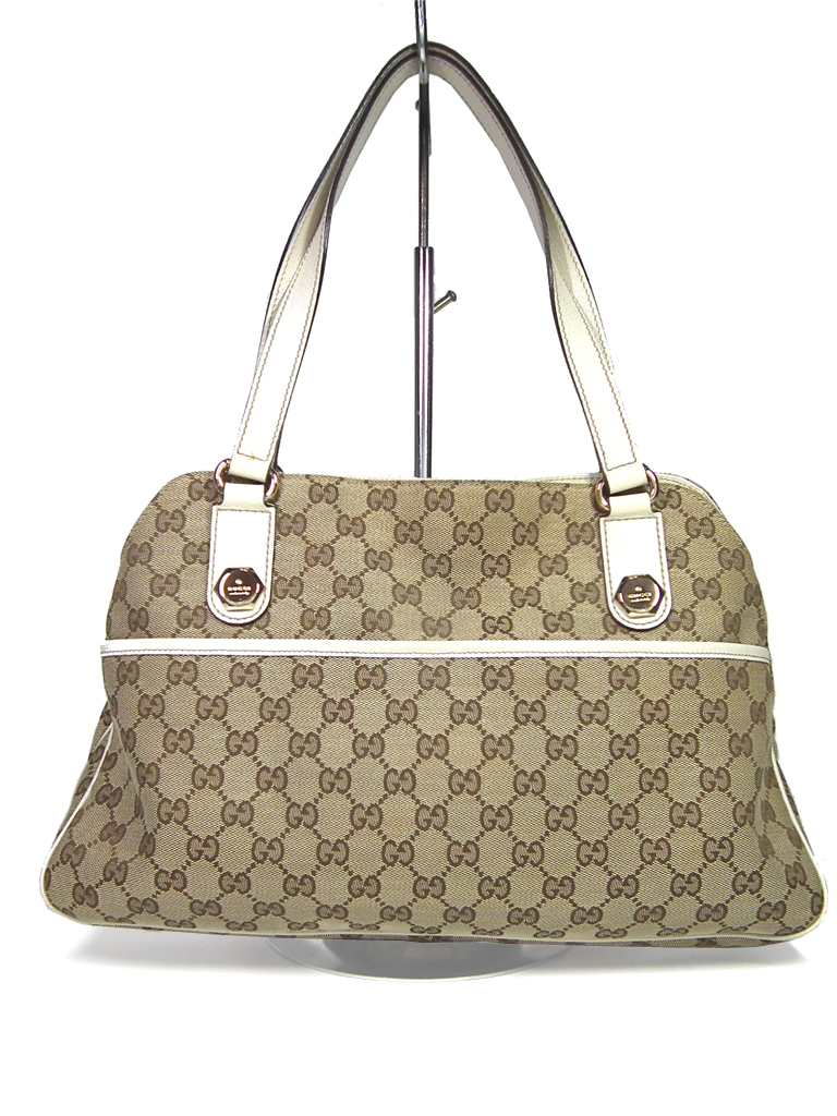 b63232742fc4 Gucci tote bag GG canvas shoulder bag GG beige Lady's 163288 GUCCI GG  pattern ...