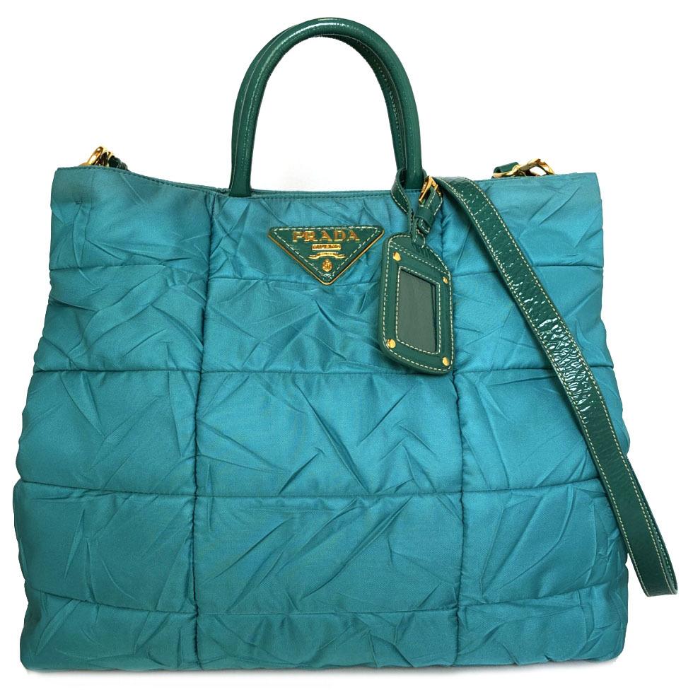 3f8355b0f898 Beautiful article Prada 2WAY tote bag shoulder bag nylon wrinkle processing  quilting Midori Green BN1595 PRADA ...