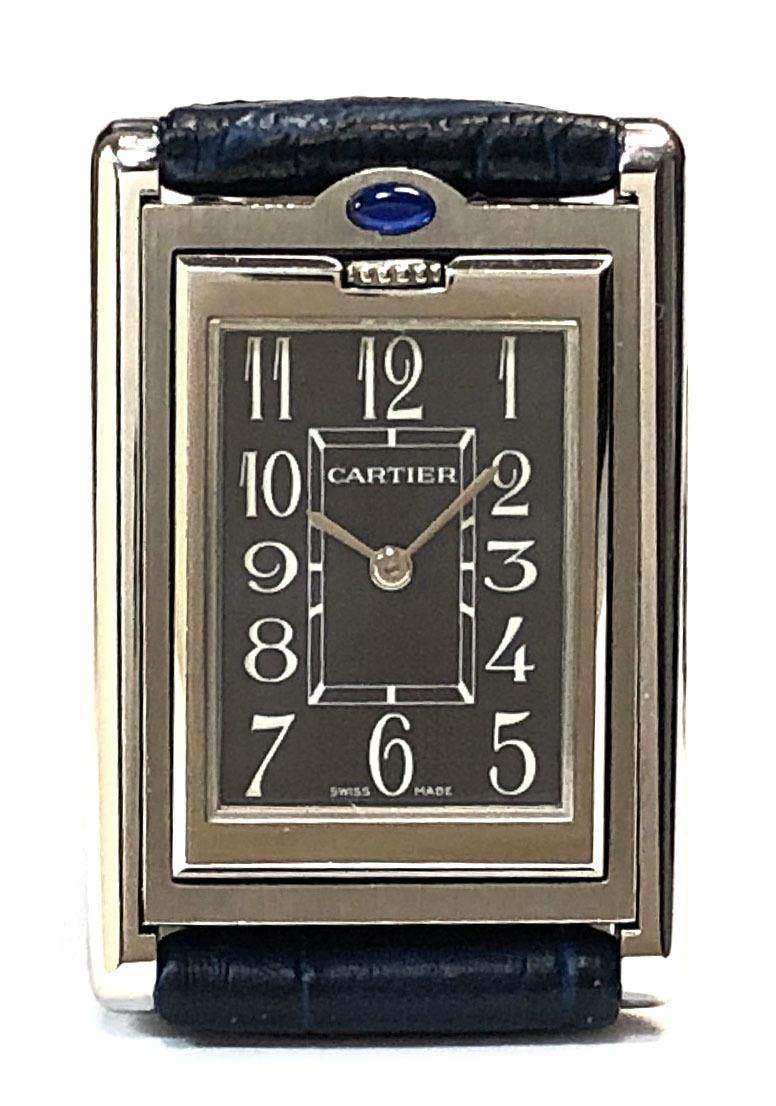 新品同様 カルティエ タンクバスキュラント SM レディース 時計 W1011158 クォーツ レディースウォッチ ネイビー文字盤 Cartier 女性用 SS 革バンド 腕時計 【中古】