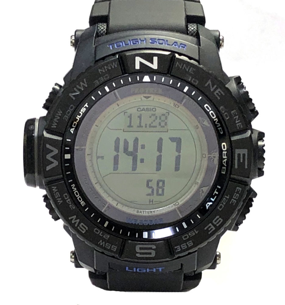 新品同様 カシオ 腕時計 プロトレック PRW-3510 ブラックベゼル トリプルセンサー タフソーラー 電波時計 PRO TREK  時計 メンズ 紳士用 メンズウォッチ ブラック 【中古】