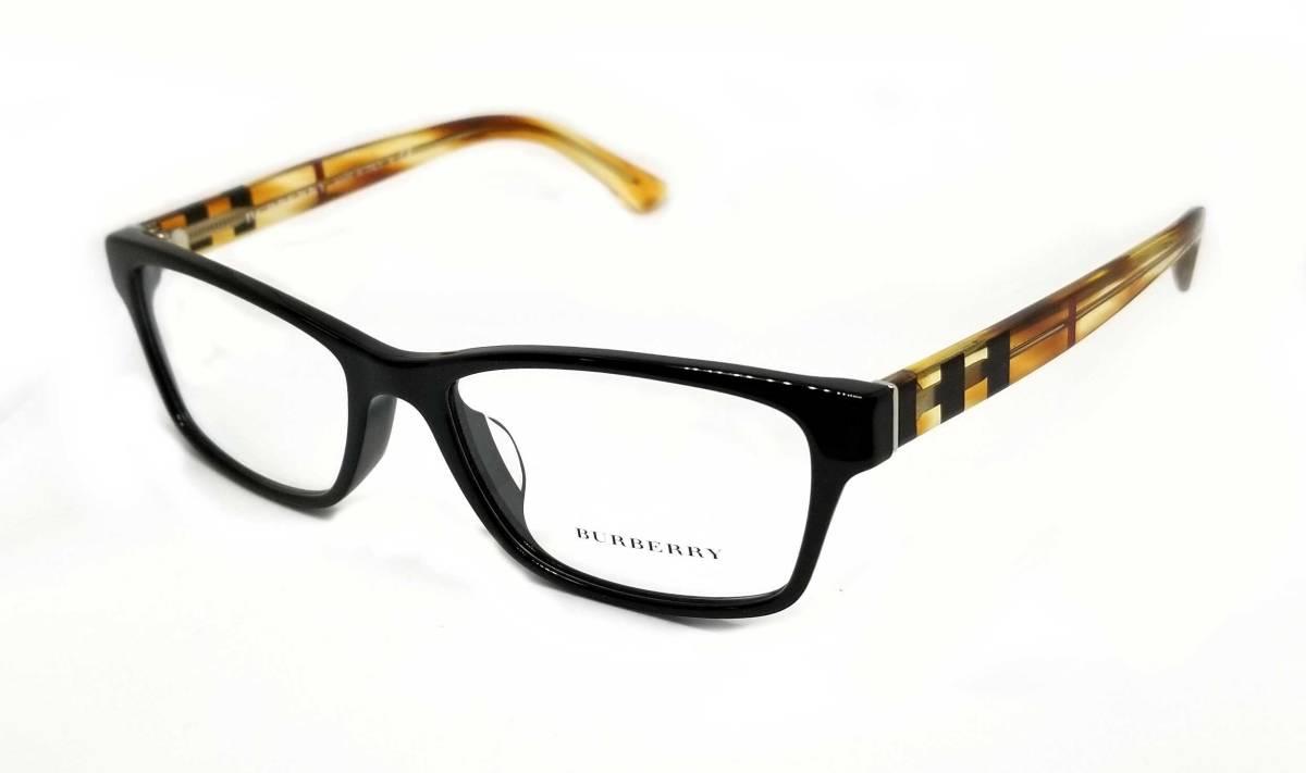未使用 バーバリー メガネフレーム メガネ めがね 眼鏡 伊達メガネ フレーム チェック メンズ レディース だてメガネ BURBERRY 黒 ブラック 【中古】