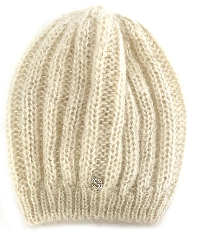 新品同様 グッチ 帽子 ニット帽 ニットキャップ インターロッキング ホワイト 白 レディース バルーンニット GUCCI モヘヤ シルク  【中古】