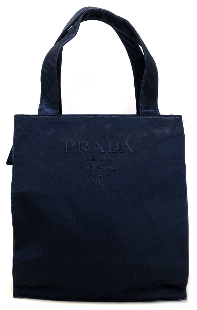 Prada tote bag handbag satin embroidery mini-Thoth navy logo dark blue  Lady s PRADA Thoth lunch Thoth