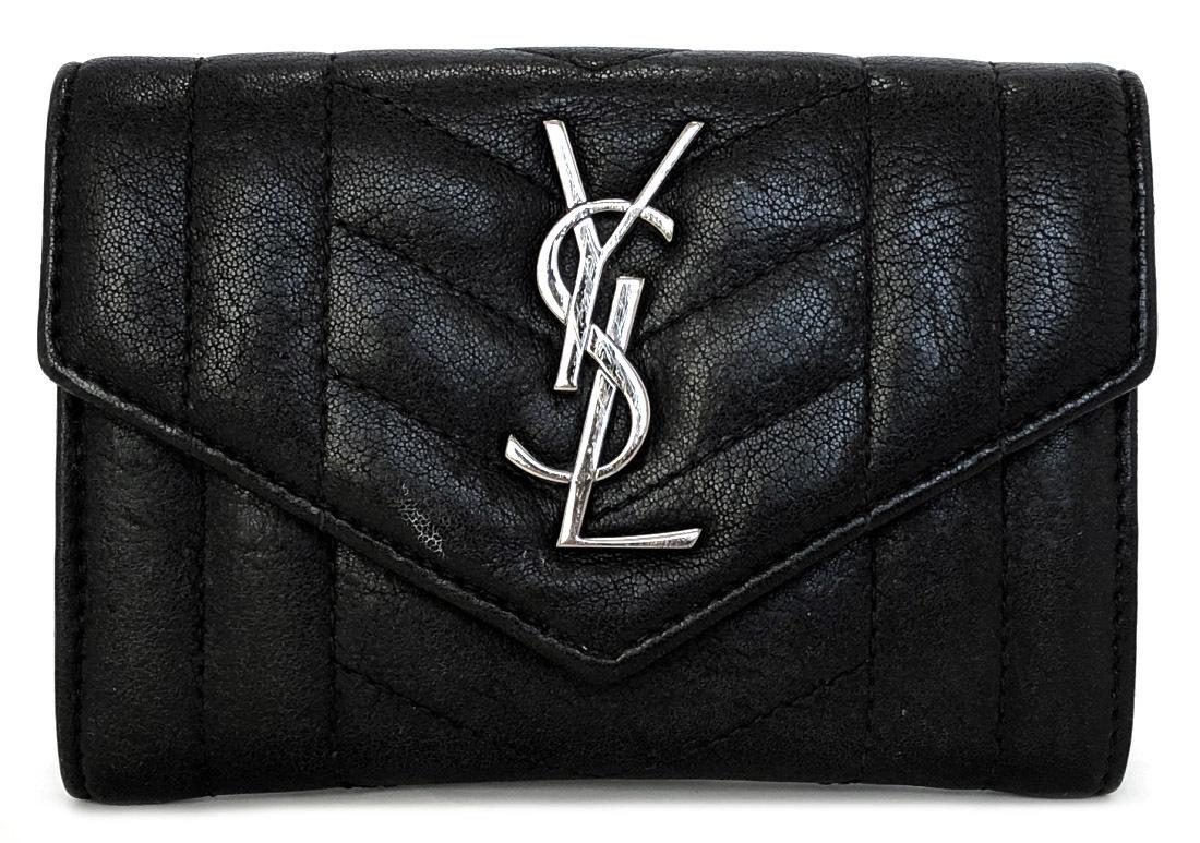 c6fc67ef1e9 Saint-Laurent Paris wallet quilting YSL black black leather Lady's men  compact SAINT LAURENT PARIS ...