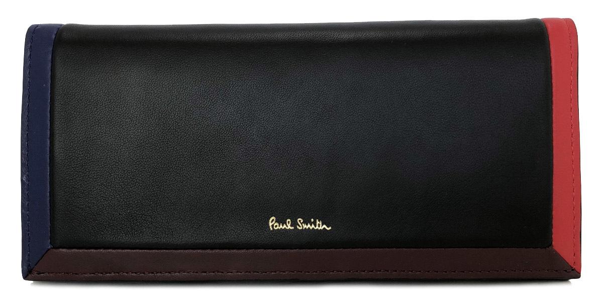 未使用 ポールスミス 長財布 レザー ブラック レッド ブルー ボルドー ラムスキン SPC316 メンズ 紳士用 Paul Smith 財布 二つ折り財布 二つ折り長財布 【中古】