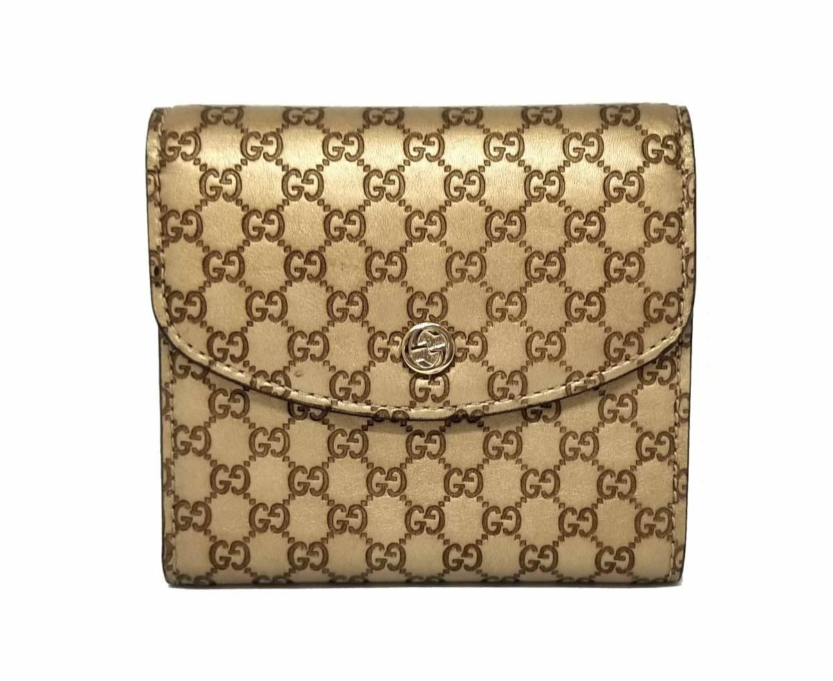 e385a1b294e Three beautiful article Gucci wallet folios fold GG micro GG Gucci sima  gold leather Lady s 256928 GUCCI