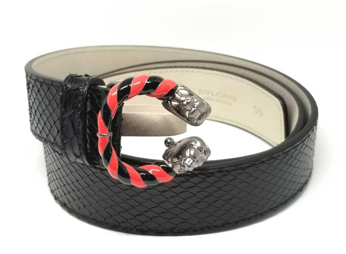 ブルガリ レザー ベルト レオーニ パイソン 黒 蛇革 ライオン バックル 90cm ブラック メンズ 紳士用 BVLGARI 【中古】